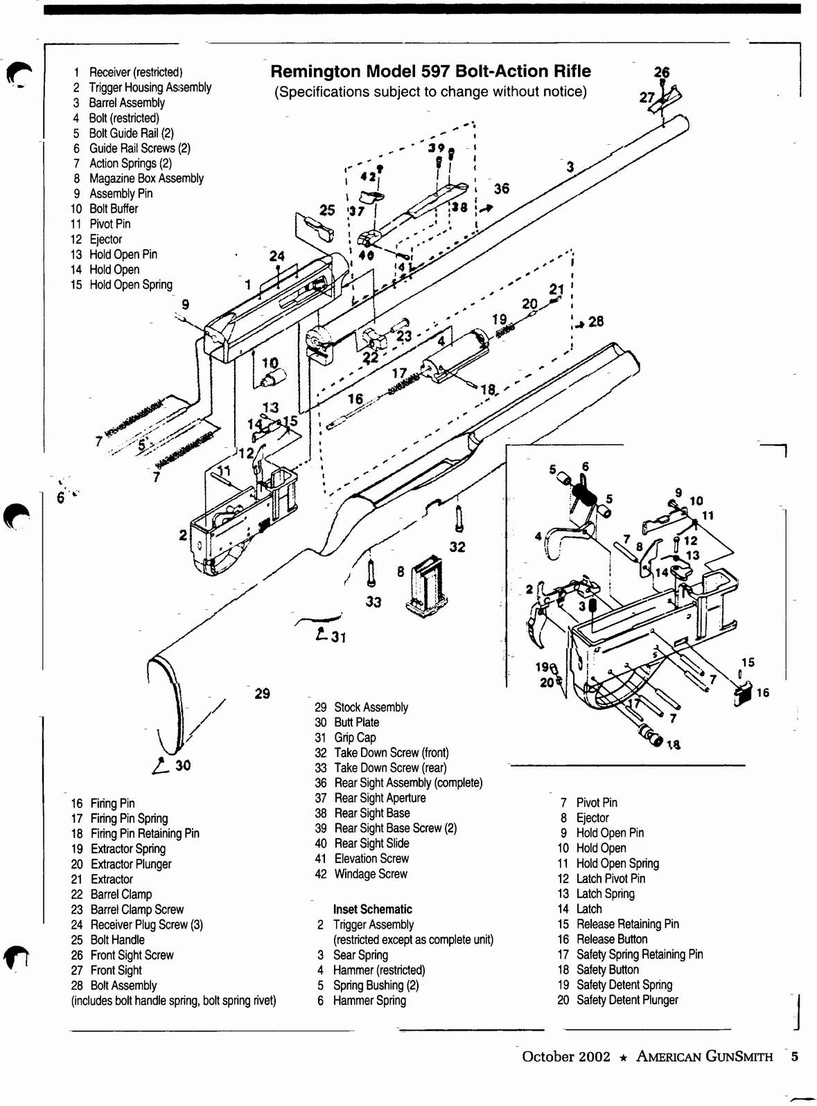 receiver, bolt & barrel parts images - frompo wiring diagram for 2005 pontiac grand prix headlight assembly diagram for remington 597 bolt assembly #4